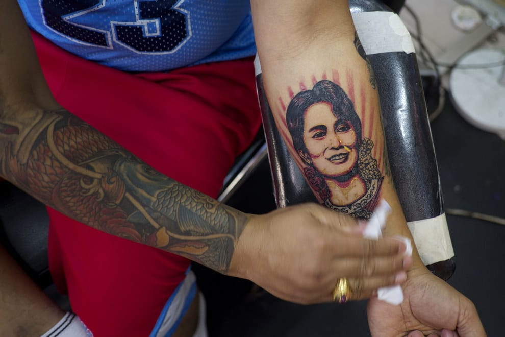 Suu Kyi Supporters Get Tribute Tattoos After Democracy's Victory