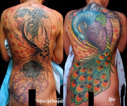 Back tattoos transformed into an amazing Peacock back piece by Paco Dietz.
