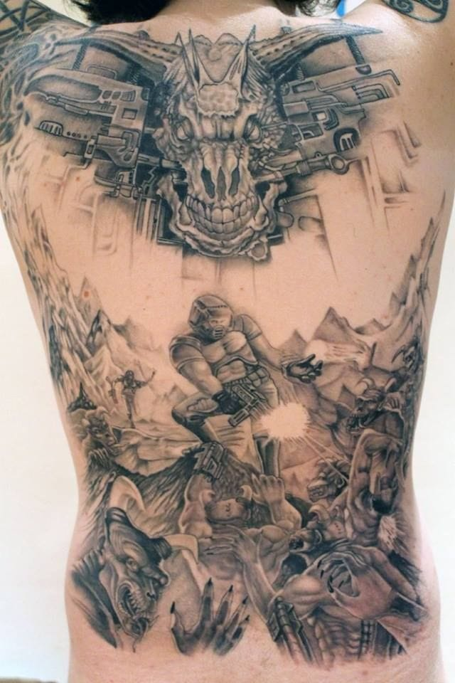 Backpiece in black & grey of the most iconic image of Doom