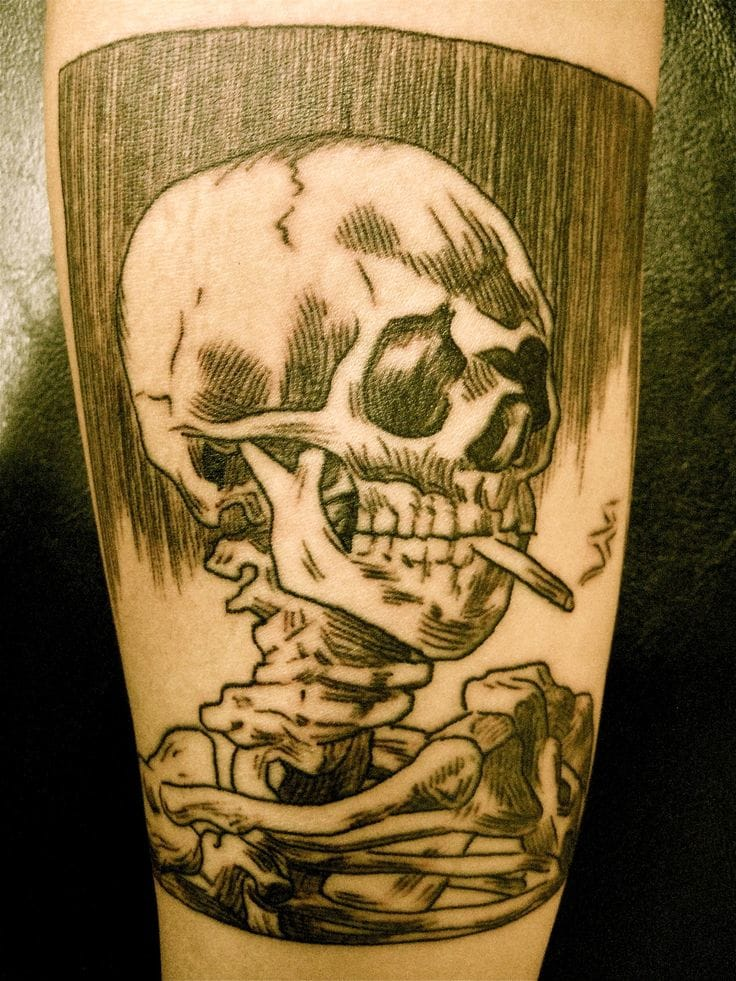 Van Gogh Inspired Skull Tattoo by Purple Panther Tattoo