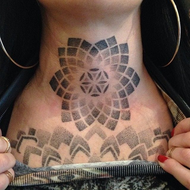 14 Gorgeous Geometric Dotwork Neck Tattoos