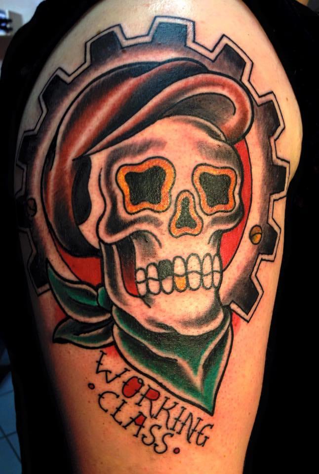 Working Class Skull Tattoo by Caroline Reichel