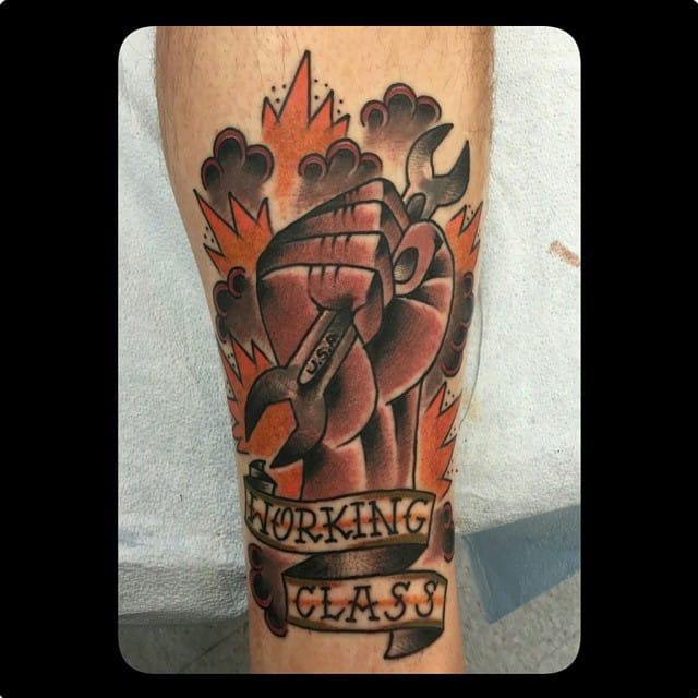 Working Class Tattoo by Oscar Montes Tattooer