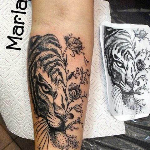 Creative Tiger Tattoo by Marla Tattoo