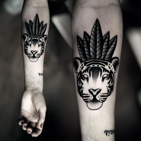 Dotwork Tiger Tattoo by Kamil Czapiga
