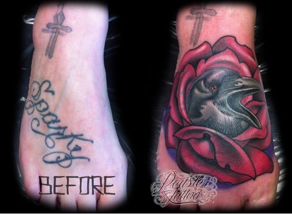 Think before you get your Ex's name inked. Beautiful foot tattoo cover-up by Reuster.
