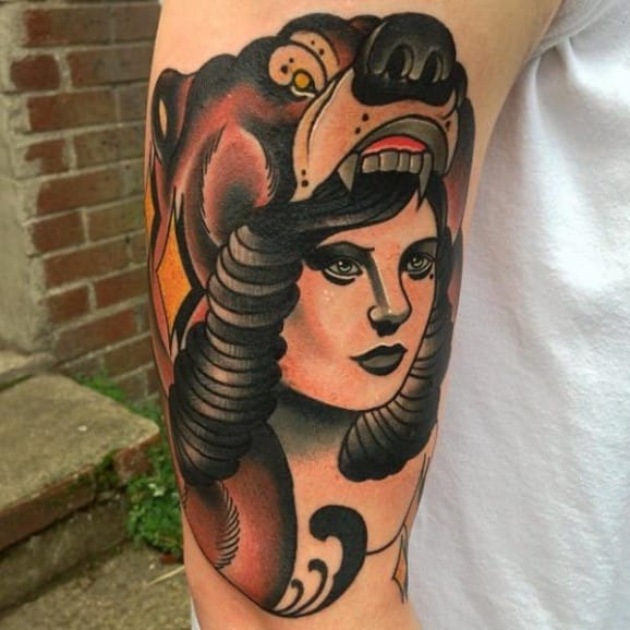 Solid Bear Cowl Tattoo by Mike Stocklings