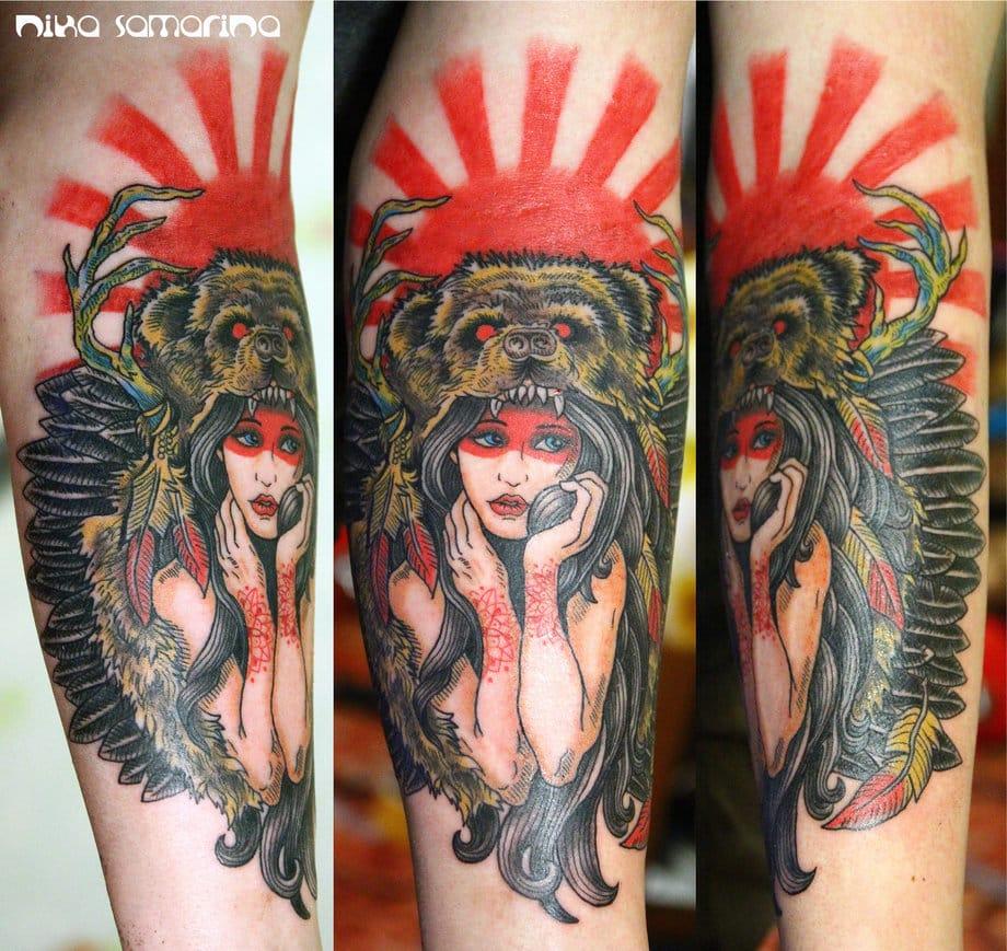 Bear Cowl Tattoo by Nik Samarina