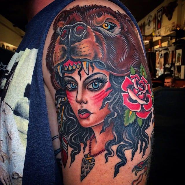 Bear Cowl Tattoo by Steve Minerva