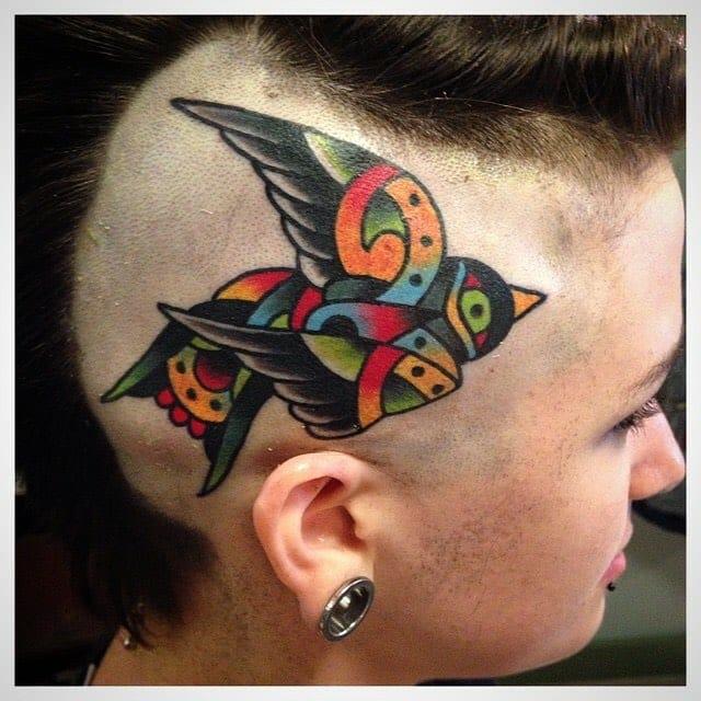 Folk Bird Head Tattoo by Mario Desa