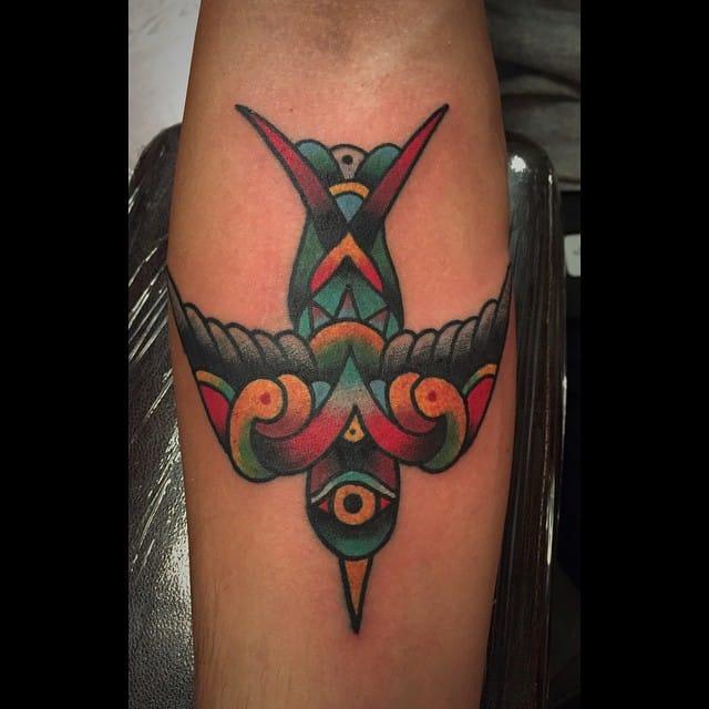Folk Bird Tattoo by Mario Desa