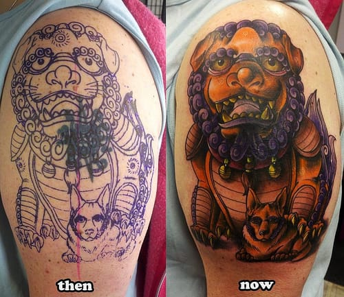 Cover a small old tattoo with a big one to maximize the space and tattoo placement. Tattoo by Derek Zelinski.
