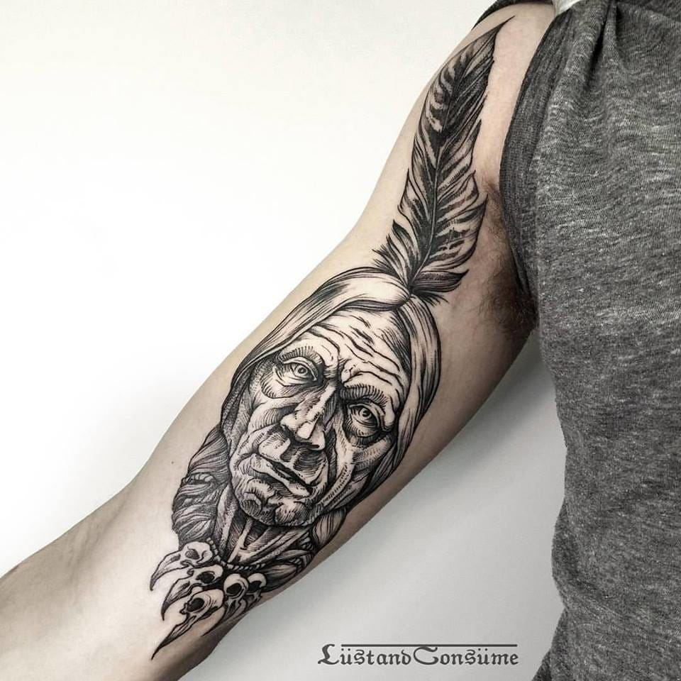 Indian Chief Tattoo by Phil Tworavens