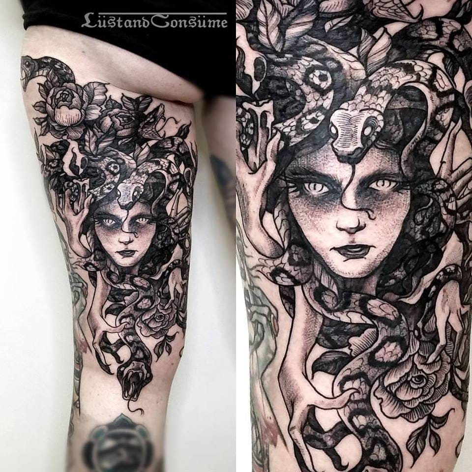Brilliant Medusa Tattoo by Phil Tworavens