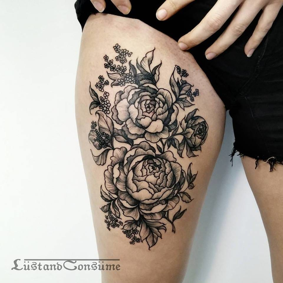 Peonies Tattoo by Phil Tworavens