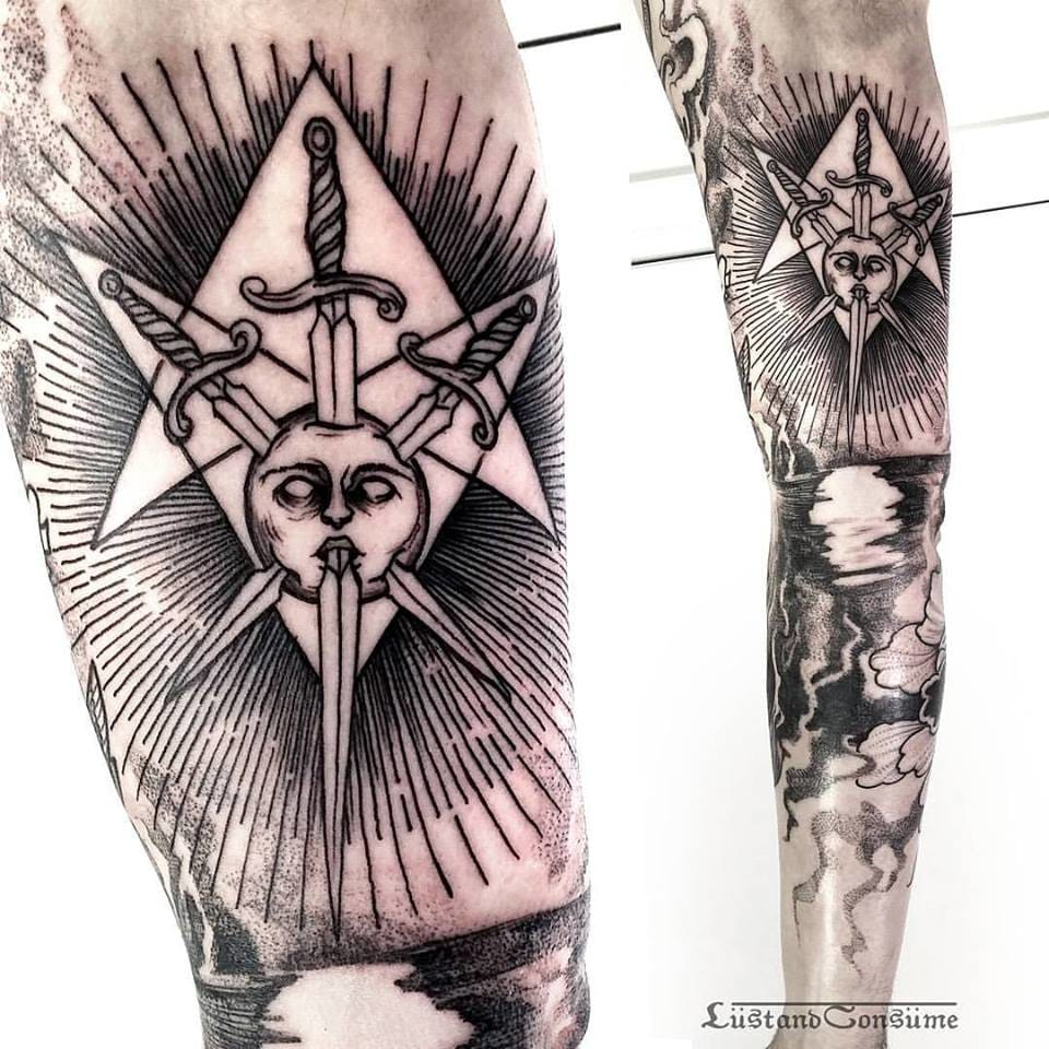 Sword Star Tattoo by Phil Tworavens
