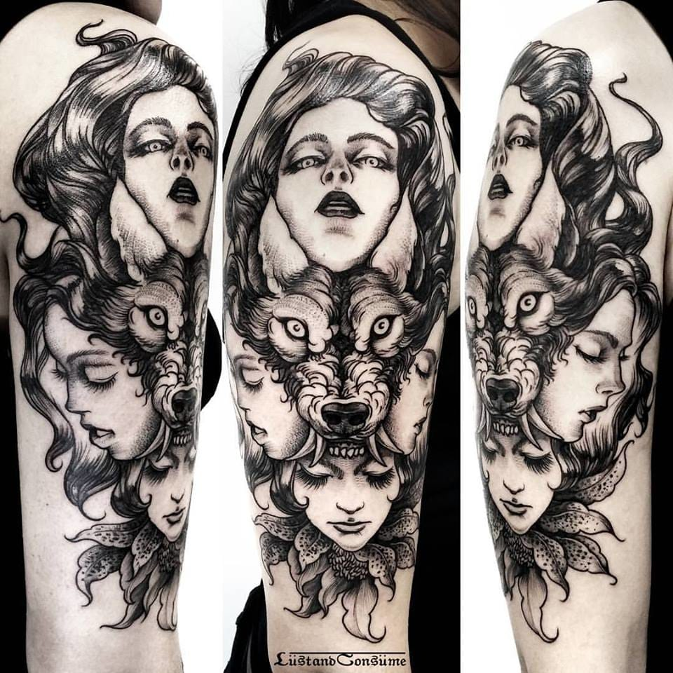 Wolf Goddesses Tattoo by Phil Tworavens