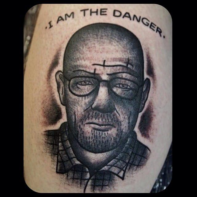 Black and Grey Walter White Tattoo by Martin Fletcher