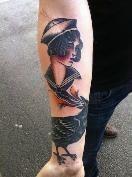 Sailor Girl Tattoo by Jonas Uggli
