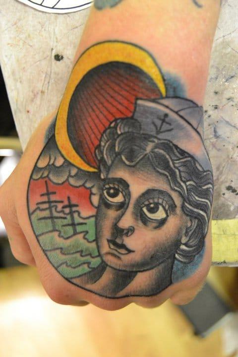 Sailor Girl Hand Tattoo by Patrik SeaStar Hulth