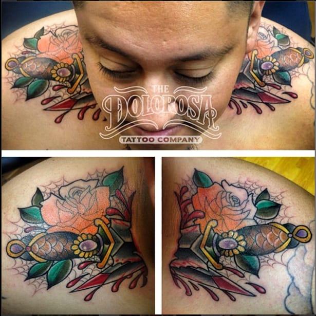 Through Neck Knives Tattoo by Dolorosa Tattoo Company