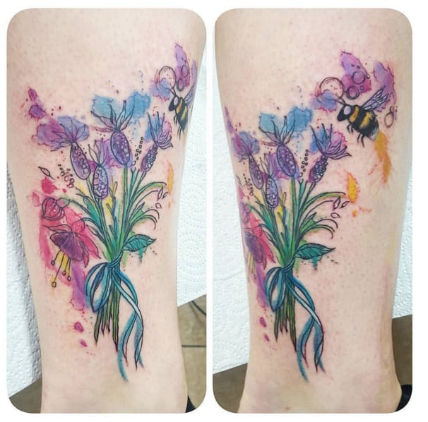 My favourite - stunning lavender watercolour tattoo by @milky_tattoodles (photo credit Instagram).