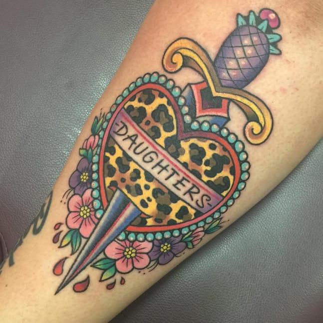 Daughters dagger tattoo by Sarah K. Photo taken from Instagram @sarahktattoo.