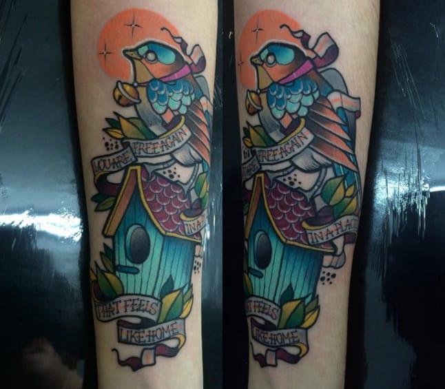 Birdhouse tattoo by Tatiana Sandberg, Uruguay. Photo from Instagram @tatianasandberg.