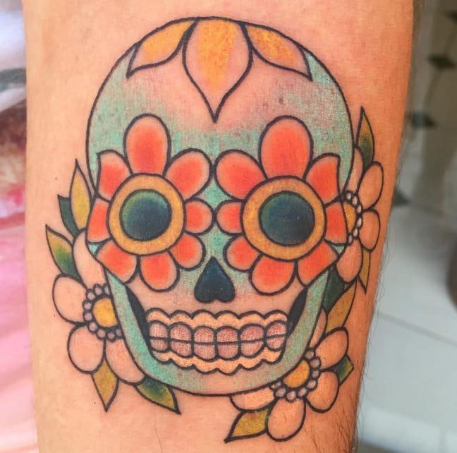 Sugar skull by Meri who tattoos at Trece Tattoo, Málaga. Photo from Instagram @tattoosbymeri.