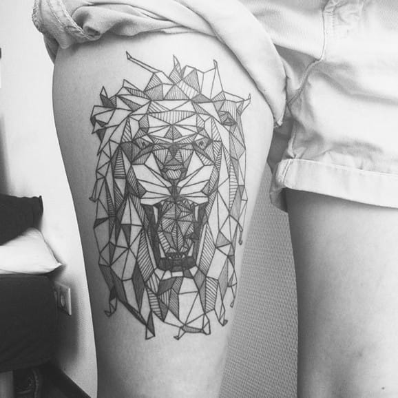 Geometric Lion Tattoo by Diana Katsko