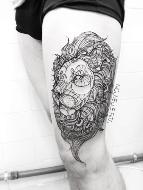Geometric Lion Tattoo by Nouvelle Rita