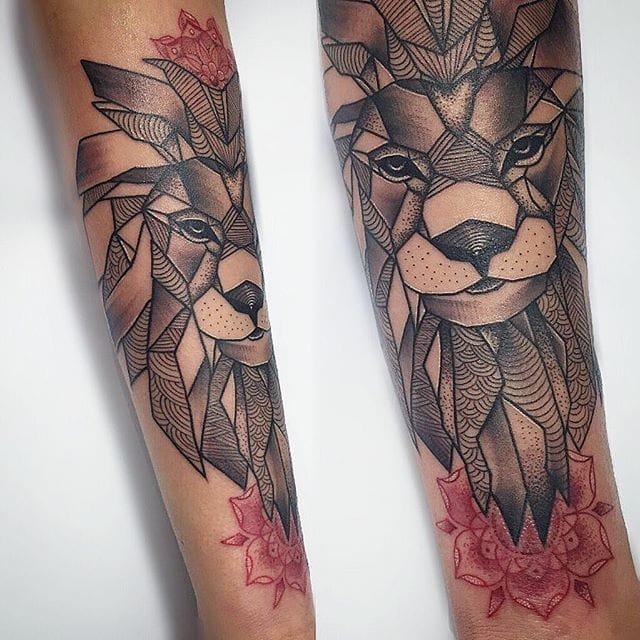 Geometric Lion Tattoo by Emma Thorne