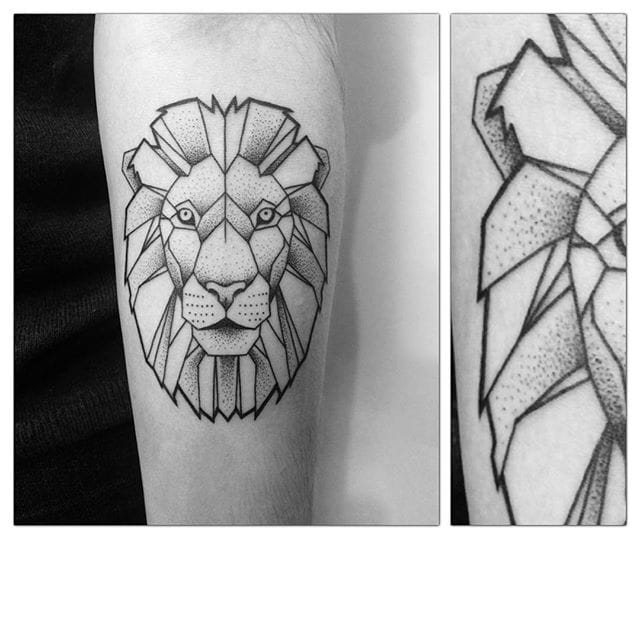 Geometric Lion Tattoo by Iron Ink