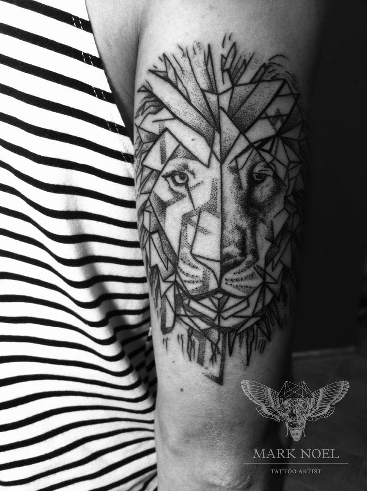 Geometric Lion Tattoo by Mark Noel