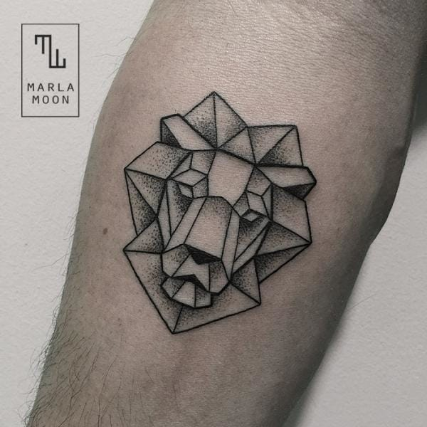 Geometric Lion Tattoo by Marla Moon
