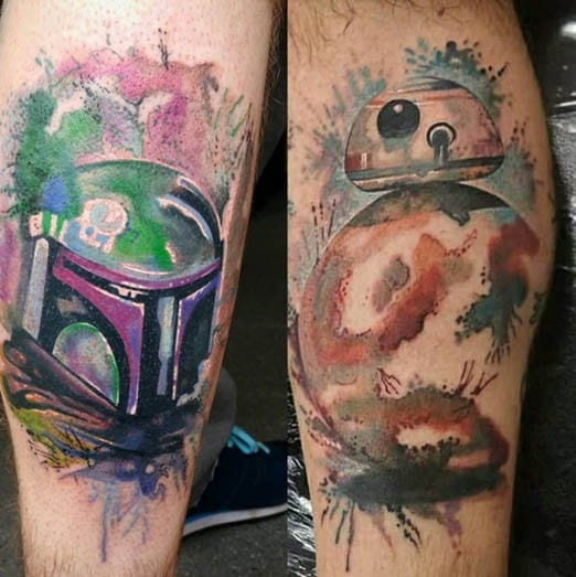 BB-8 Watercolor Tattoo by Paul Naylor