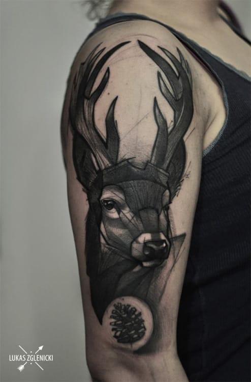 Brilliant Stag Tattoo by Lukas Zglenicki