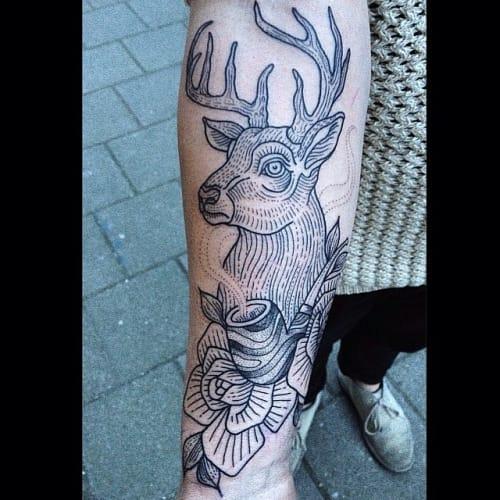 Linework Stag Tattoo by Susanne König