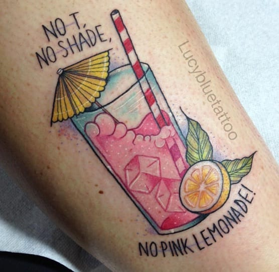'No T, No Shade, No Pink Lemonade' quote tattoo from Jasmine Masters off RuPaul's Drag Race