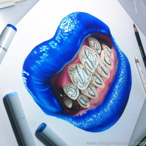 Awesome blue lips with lettering design by Megan Massacre