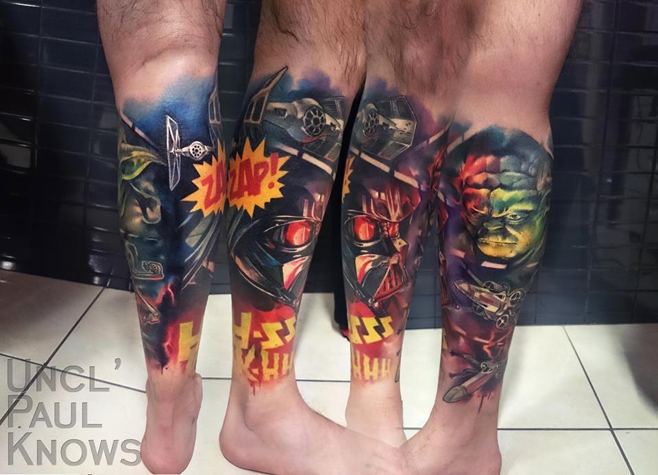 Star Wars leg sleeve tattoo. Photo from www.facebook.com/unclpaulknows.