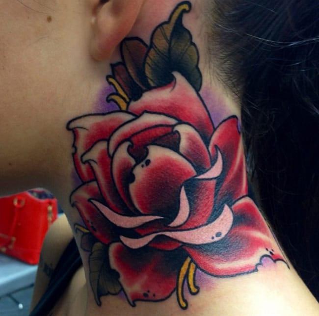 Rose neck tattoo by Alex Jazz, Helsinki. Photo from Instagram @alexjazz.