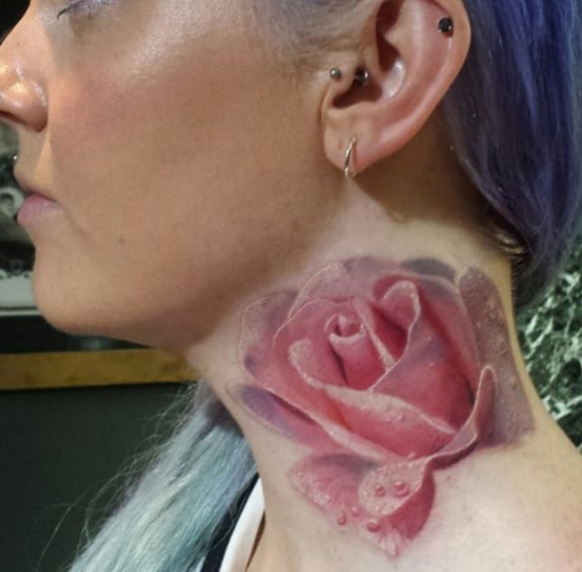Realistic pink rose tattoo by Leanne Fate, Jayne Doe, Essex, UK. Photo from Instagram @leannefate.