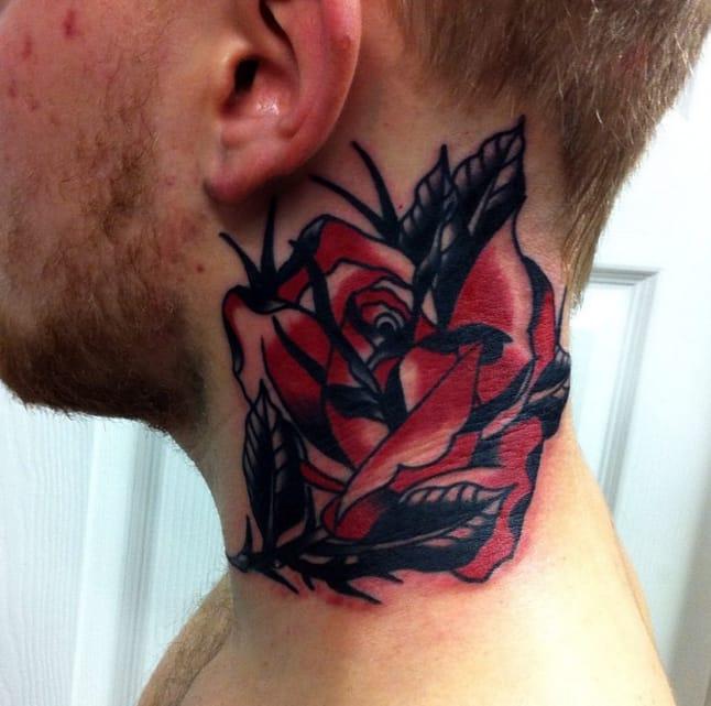 Red rose tattoo by Lewis Mckechnie, Edinburgh, UK. Photo from Instagram @lewismckechnie.