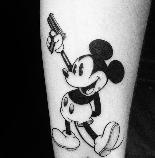 Mickey Mouse Gun Tattoo by Mark Lee