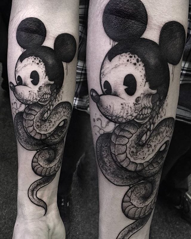 Mickey Mouse Serpent Tattoo by Robert Borbas