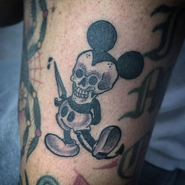 12 dark mickey mouse tattoos tattoodo. Black Bedroom Furniture Sets. Home Design Ideas