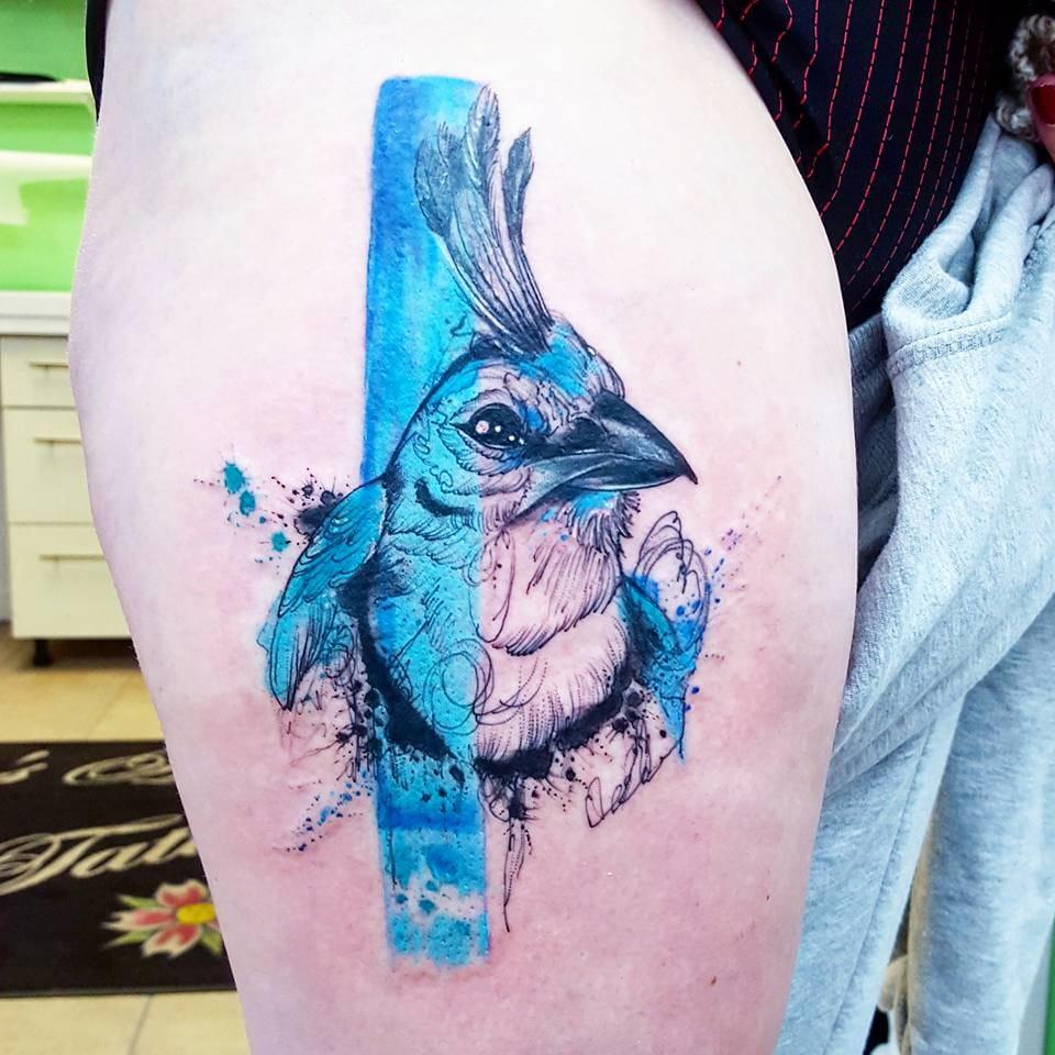 Blue Jay tattoo. Photo from Joanne's Instagram @milky_tattoodles.