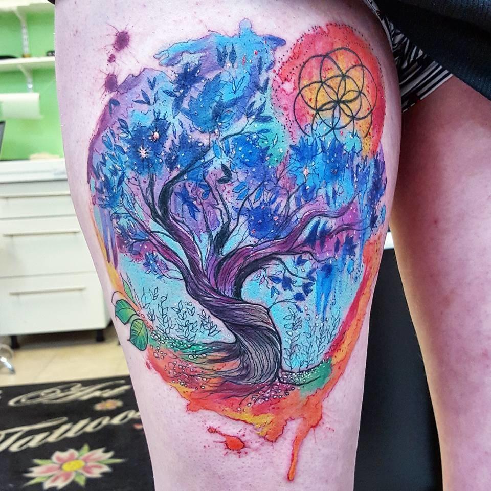 Tree of life tattoo, Artist: Joanne Baker, Photo from Joanne's Instagram @milky_tattoodles.