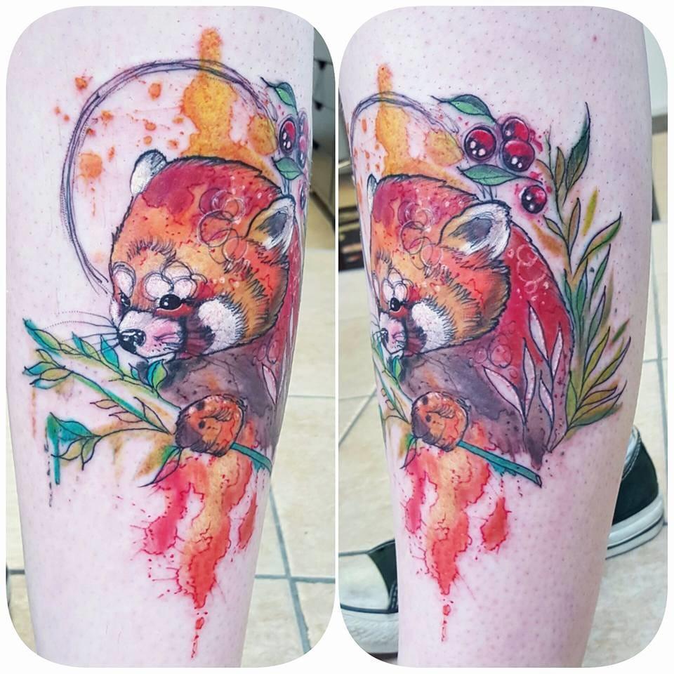 Red panda tattoo. Photo from Joanne's Instagram @milky_tattoodles.